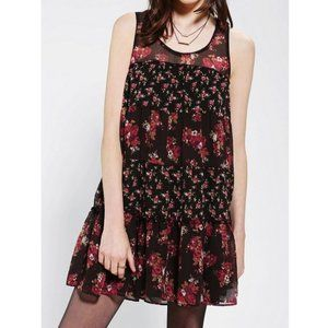 ruffly floral brown/maroon babydoll tank dress